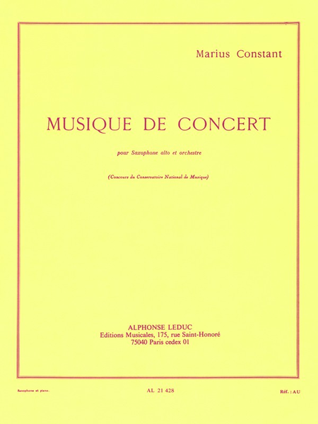 Musique de Concert - Saxophone Mib et Piano