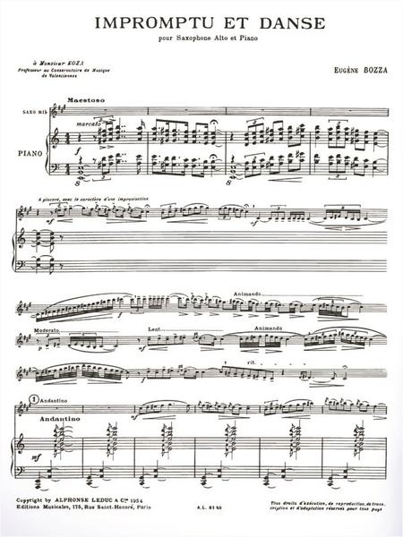 Impromptu et Danse - Saxophone Mib et Piano