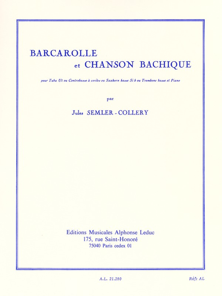 Barcarolle et Chanson Bachique - Tuba (Ou Saxhorns) et Piano
