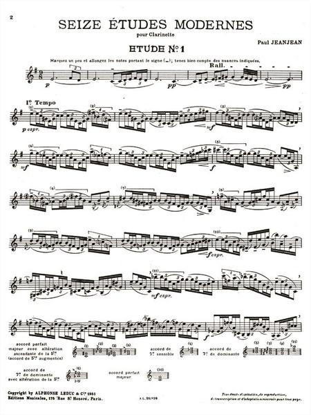 16 Etudes Modernes - Clarinette
