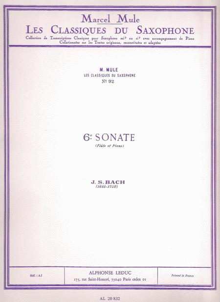 Classique Saxophone Mib No.92: Sonate No.6 (Flute)