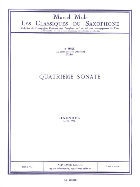 Classique Saxophone Mib No.88: Sonate No.4 (Flute)