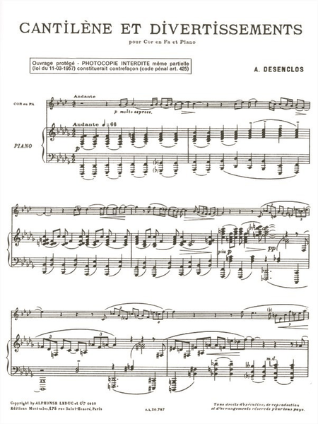 Cantilene et Divertissement - Cor et Piano