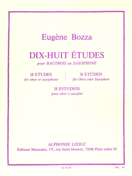 18 Etudes - Hautbois Ou Saxophone