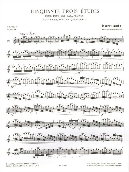 53 Etudes D'Apres Boehm Terschack et Furstenau Volume 3 - Saxophone