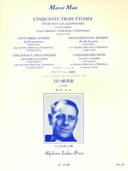 53 Etudes D'Apres Boehm Terschack et Furstenau Volume 2 - Saxophone