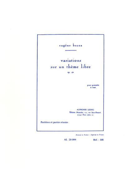 Variations Sur Un Theme Libre - Quintette A Vent
