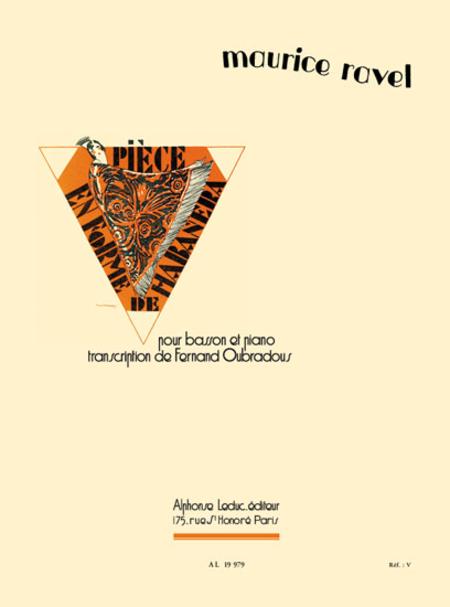 Piece En Forme De Habanera - Basson Et Piano