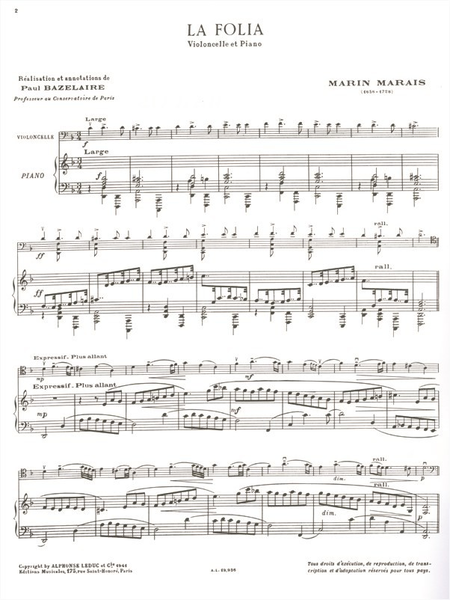 Folia - Violoncelle et Piano