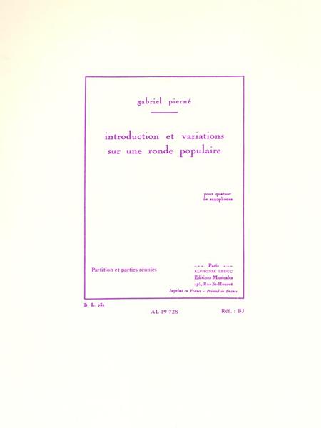 Introduction Et Variations Sur Une Ronde Populaire - Quatuor Saxophones