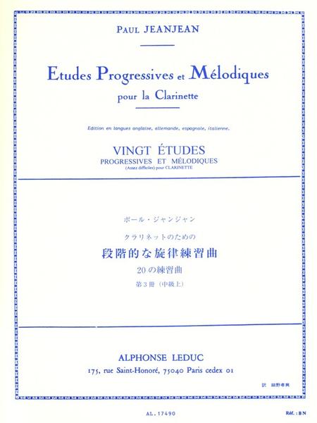 20 Etudes Progressives et Melodiques Volume 3 Clarinette