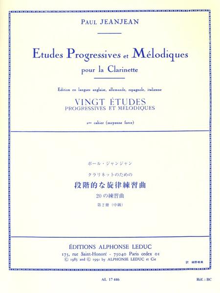 20 Etudes Progressives et Melodiques Volume 2 - Clarinette