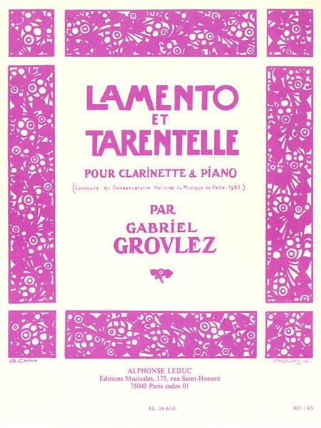 Lamento et Tarentelle - Clarinette Sib et Piano