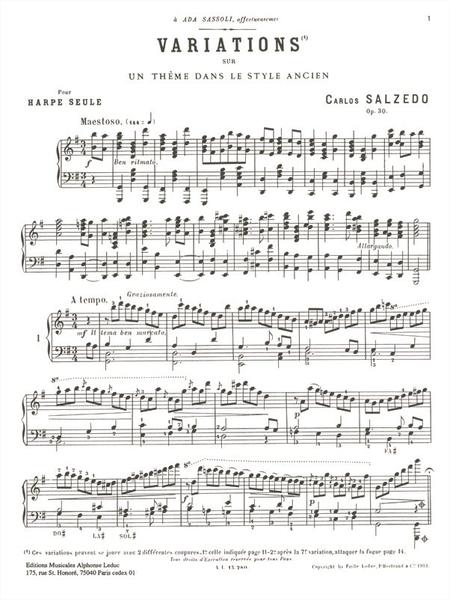 3 Morceaux: No.3 Variations Sur Theme Style Ancien Op30 - Harpe