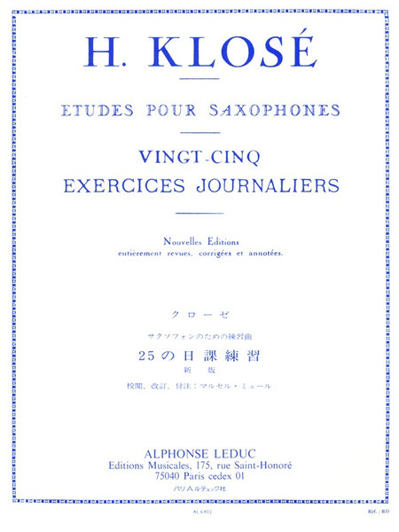 25 Exercices Journaliers - Saxophone