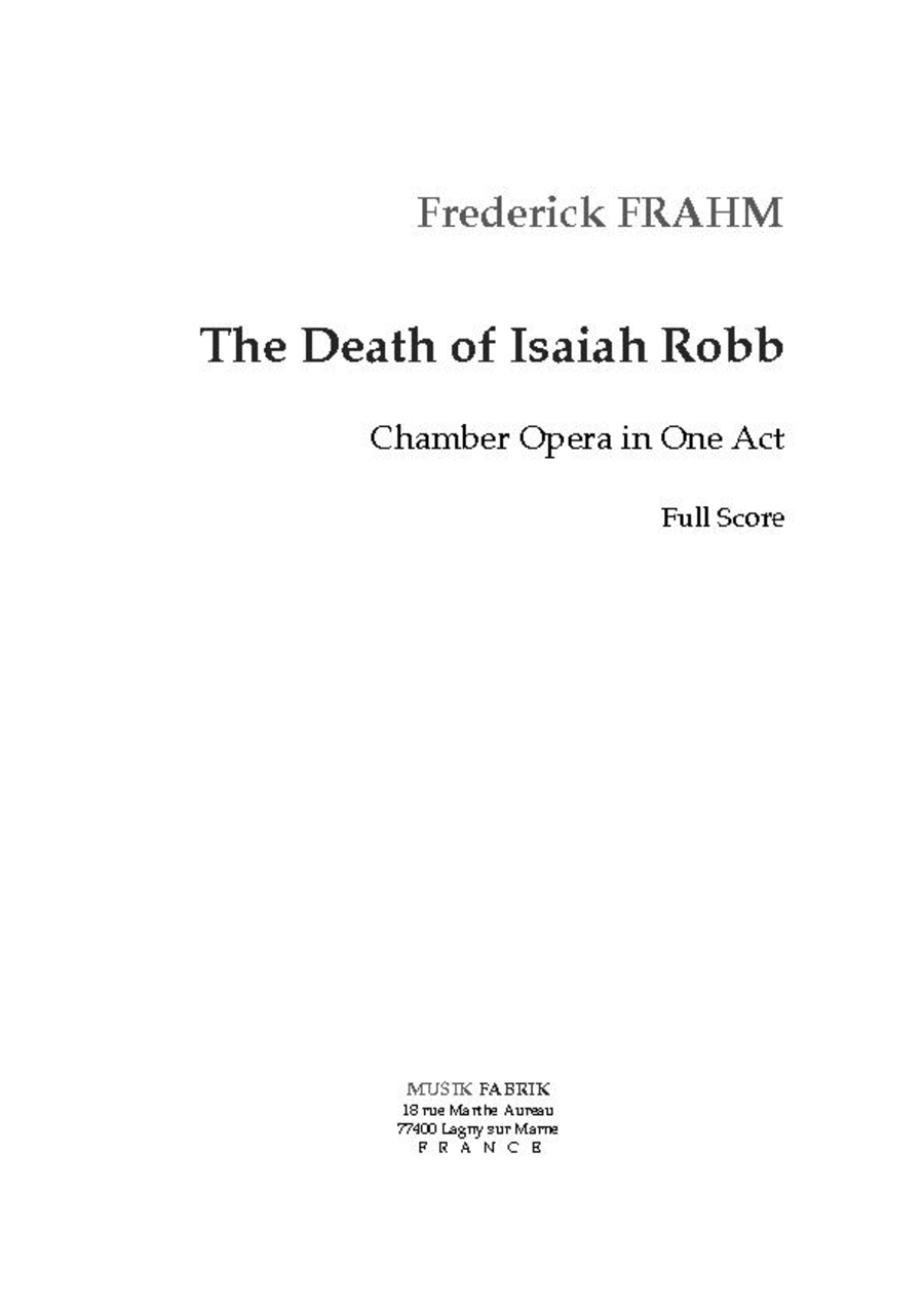 The Death of Isaiah Robb