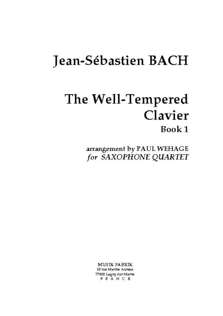 The Well-Tempered Clavier, Book1 BWV 846-869 - 24 preludes/fugues