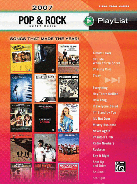 2007 Pop & Rock Sheet Music Playlist