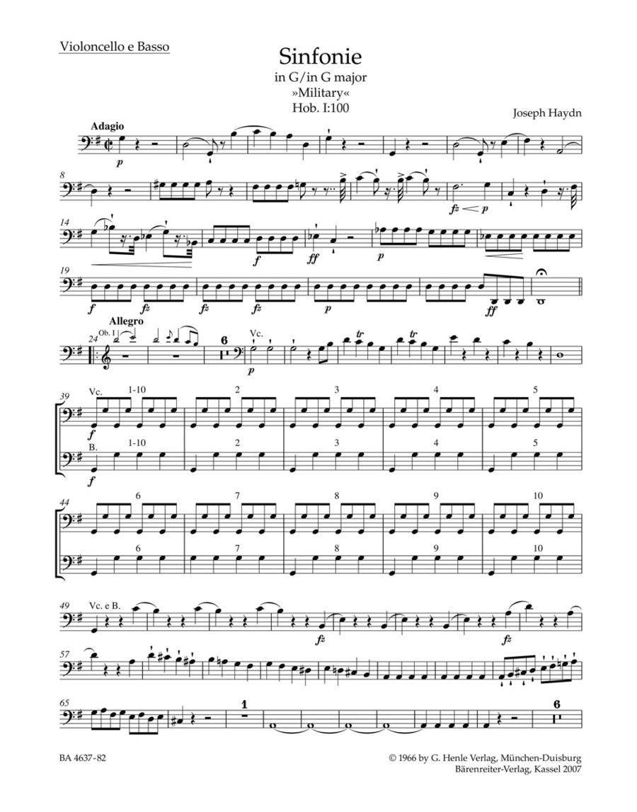 Symphony G major Hob. I:100 'Military'