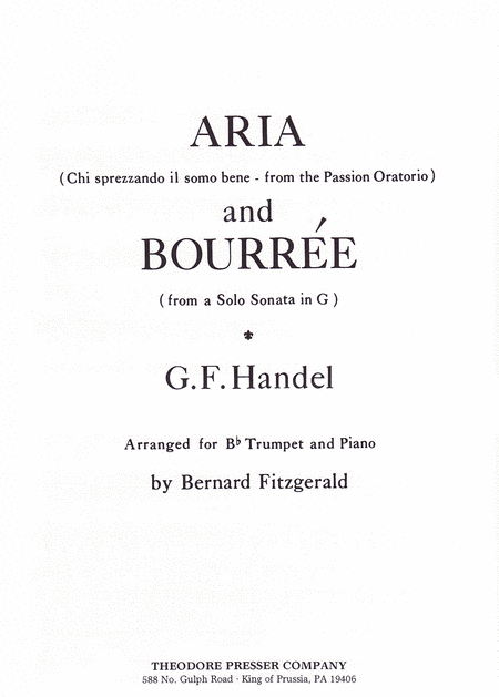 Aria (Chi Sprezzando Il Somo Bene - from the Passion Oratorio) and Bourree