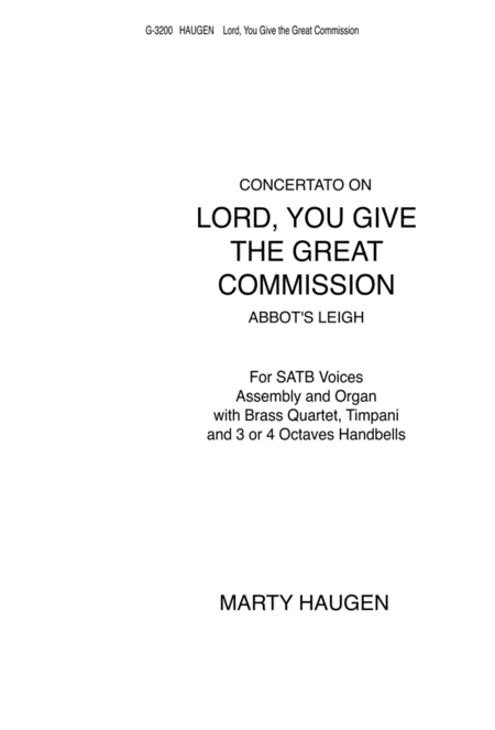 Lord, You Give the Great Commission (Instrumental Parts)