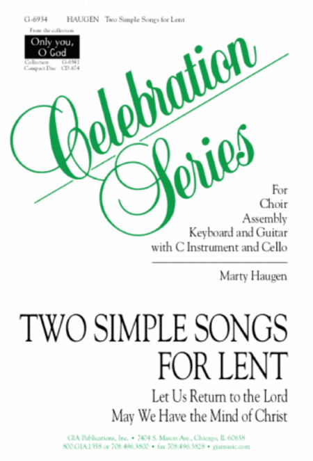 Two Simple Songs for Lent - Instrument Parts