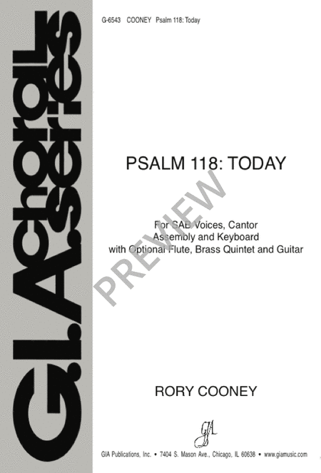 Psalm 118: Today Sheet Music By Rory Cooney - Sheet Music Plus
