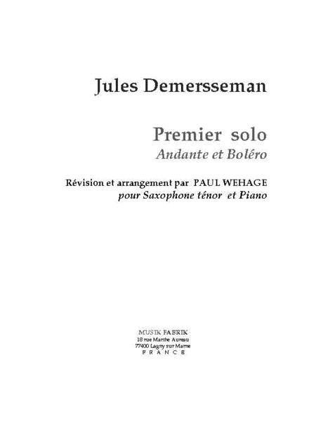 Premier Solo: Andante et Bolero