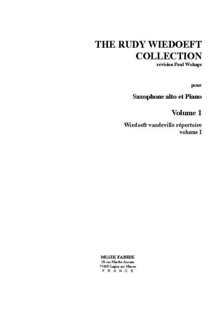 Wiedoeft Collection, Volume 1 - Vaudeville Repertoire, Book 3