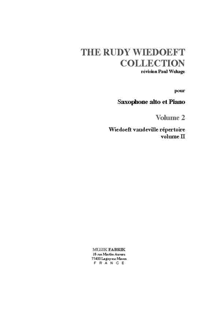 Wiedoeft Collection, Volume 2 - Vaudeville Repertoire, Book 2