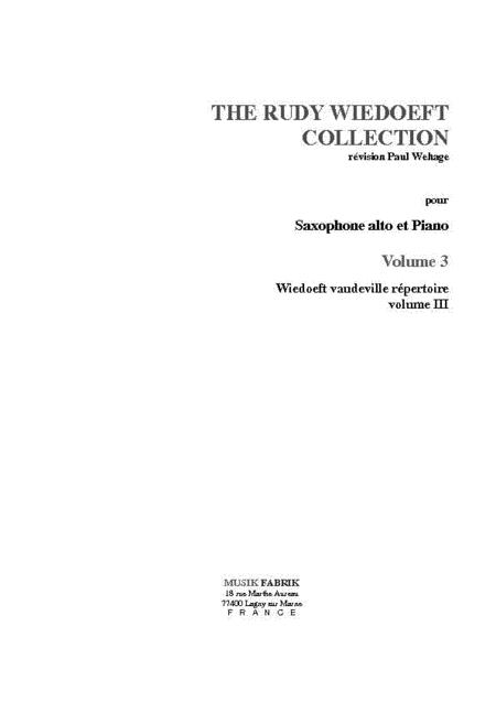 Wiedoeft Collection, Volume 3 - Vaudeville Repertoire, Book 3