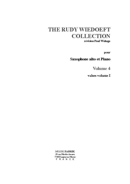 Wiedoeft Collection, Volume 4 - Valses, Book 1