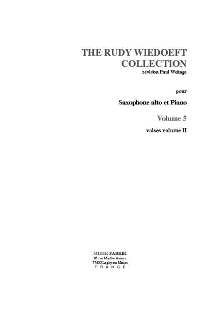 Wiedoeft Collection, Volume 5 - Valses, Book 2