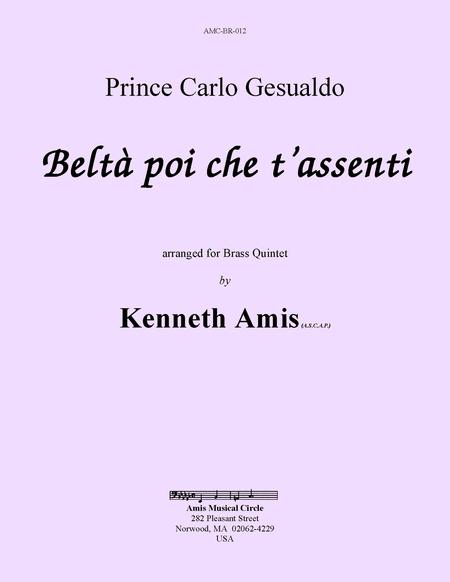 Belta poi che t'assenti (for brass quintet)