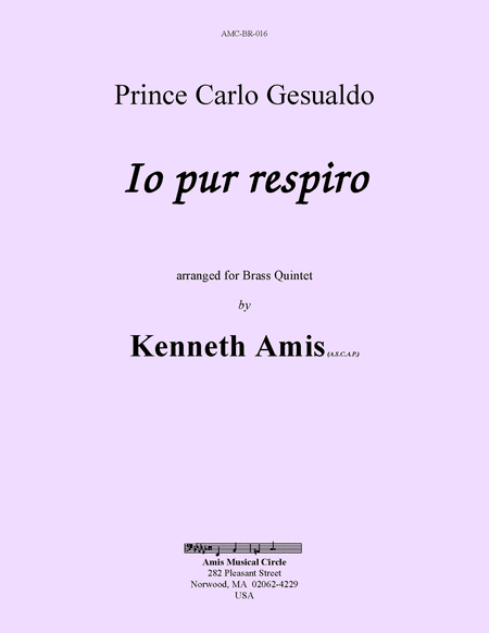 Io pur respiro, for brass quintet