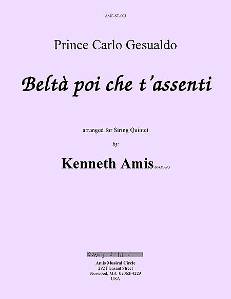 Belta poi che t'assenti (for string quintet)