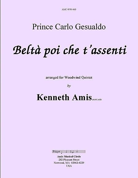 Belta poi che t'assenti (for woodwind quintet)