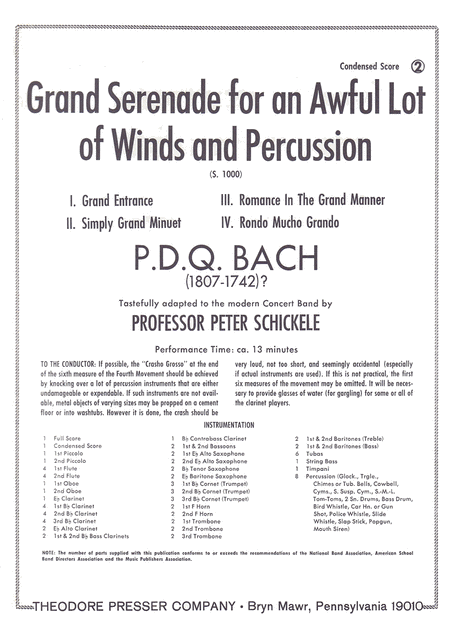 Grand Serenade for an Awful Lot of Winds and Percussion