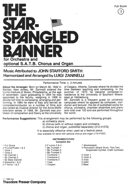 The Star Spangled Banner for Orchestra