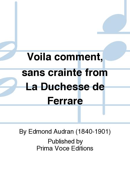 Voila comment, sans crainte from La Duchesse de Ferrare