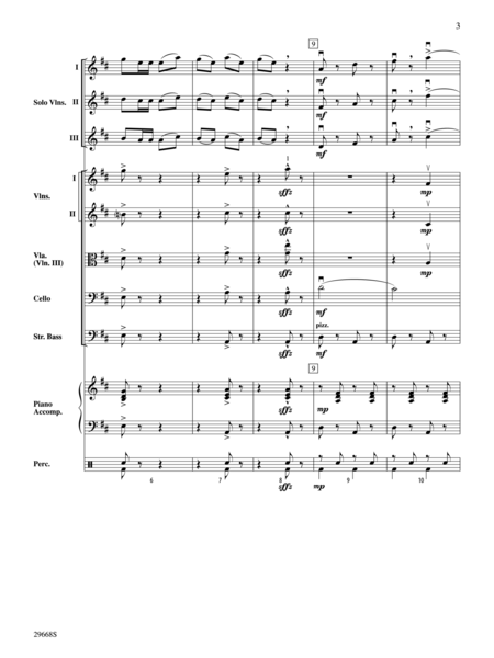 Bugler's Holiday for Three Violins and String Orchestra (Score only)