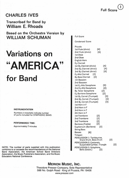 Variations On 'America'-Full Score
