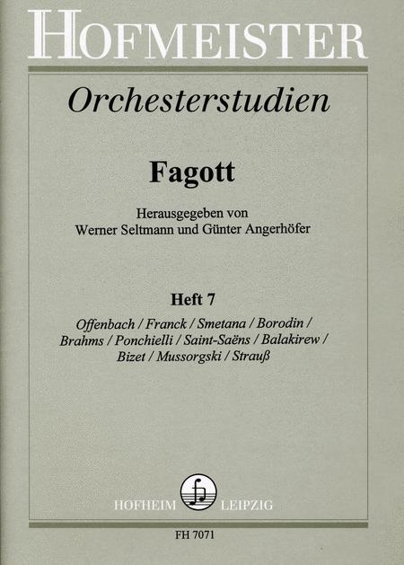 Orchesterstudien fur Fagott, Heft 7: Offenbach, Franck, Smetana, Borodin , Brahms, Ponchielli, Bizet, Saint-Saens, Balakirew, Mussorgski, Strauss