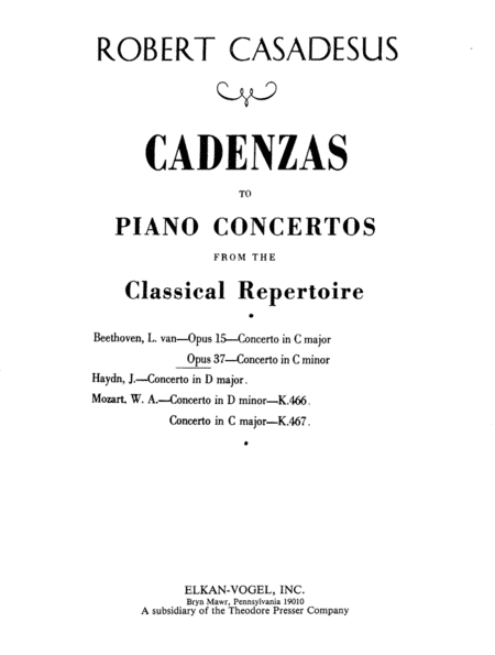 Cadenza to Beethoven's Concerto in C Minor - Opus 37