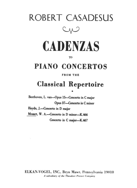Cadenzas To Piano Concertos From the Classical Repertoire