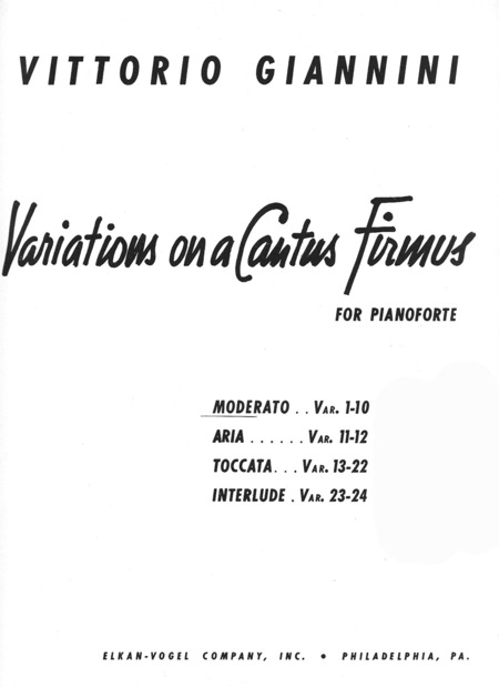 Variations On A Cantus Firmus