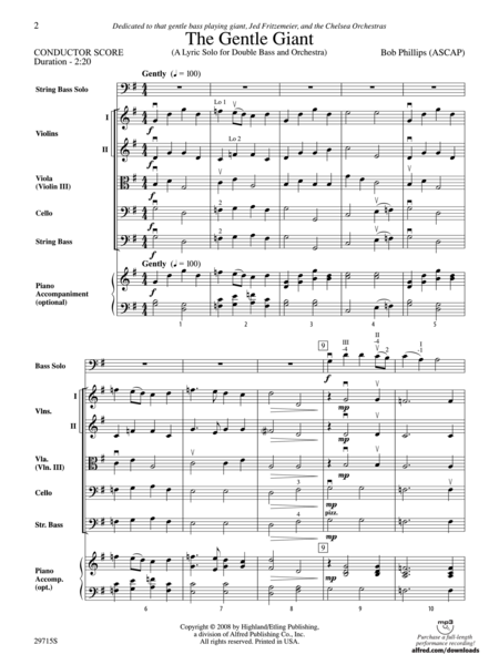 The Gentle Giant (A Lyric Solo for Double Bass and Orchestra) (score only)