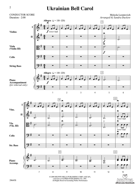 Carol of the Bells (Ukranian Folk Song) (score only)