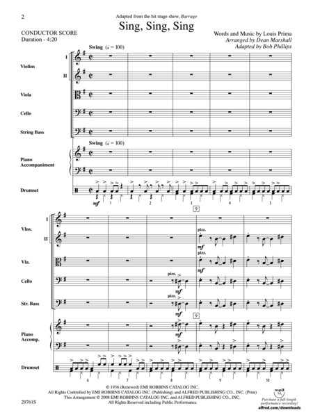 Sing, Sing, Sing (adapted from the stage show Barrage) (score only)