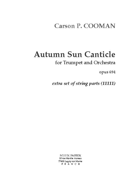 Autumn Sun Canticle - Extra String parts